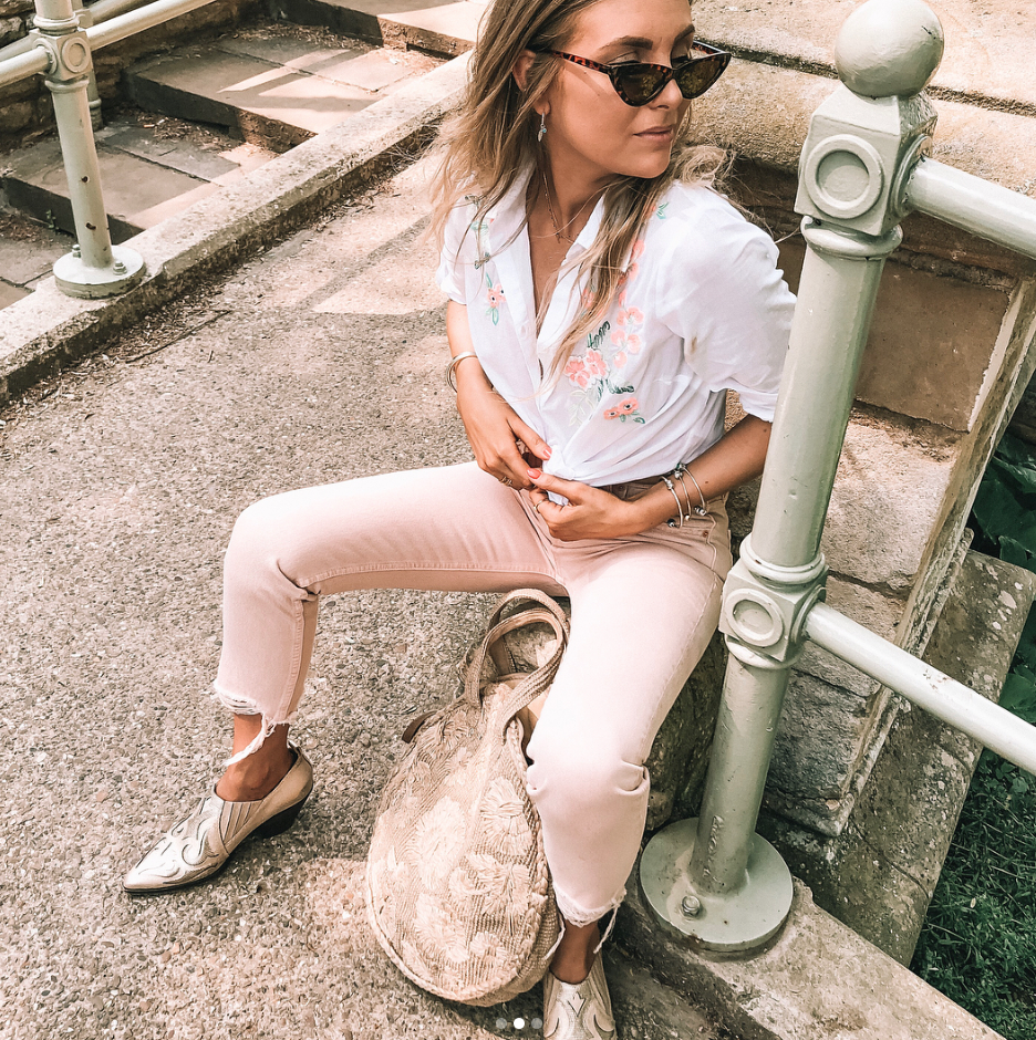 Summer Style Essentials - Revolve Pink GRLFRND denim jeans