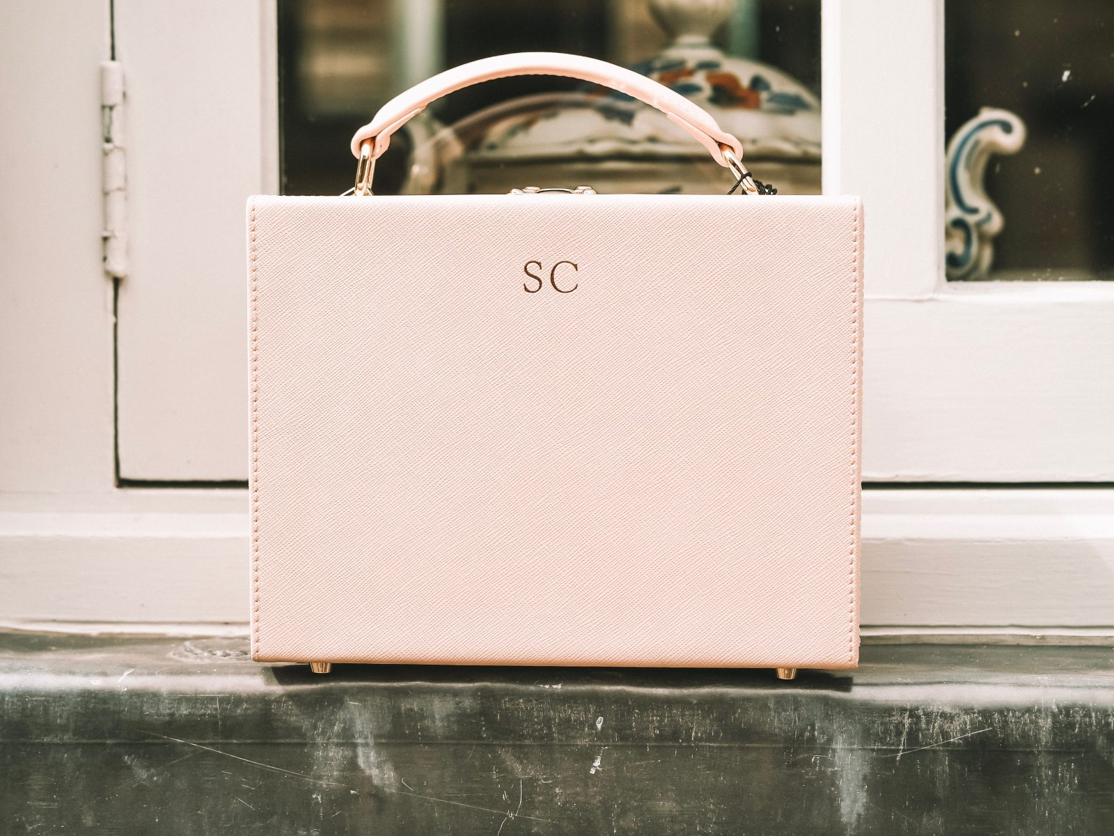The Daily Edited Box Bag - Blush Personalised Leather Bag