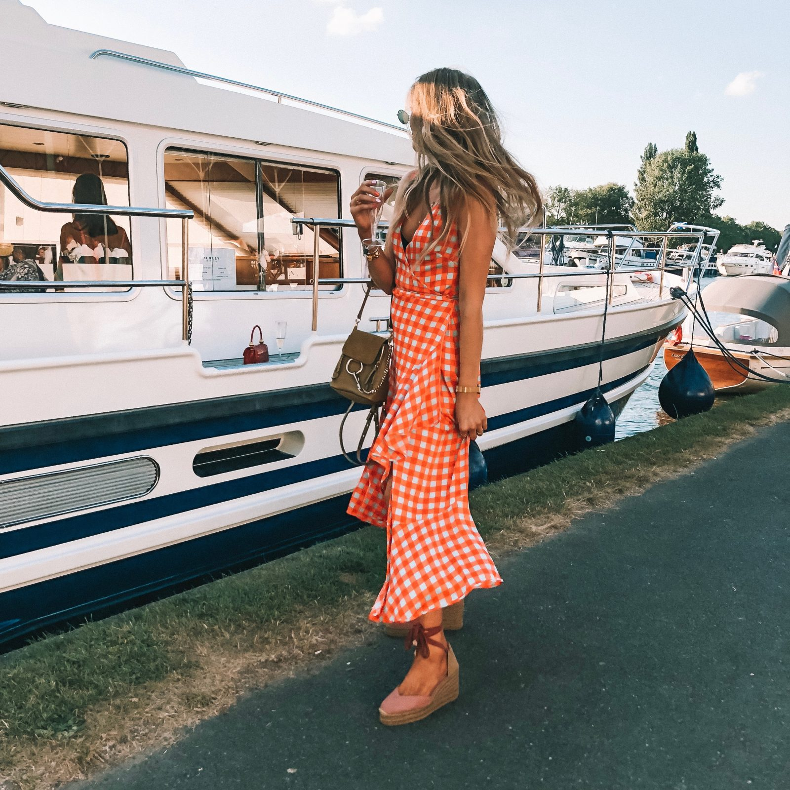 Henley Festival - DVF Orange Check Dress