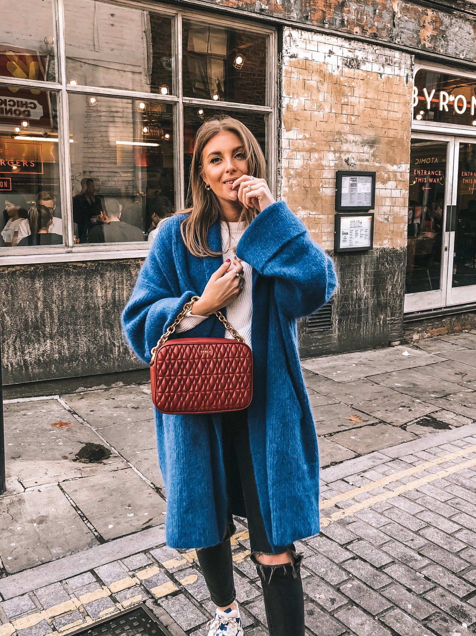 Best Knitwear - & Other Stories Blue Chunky Knit - London Street Style - Sinead Crowe