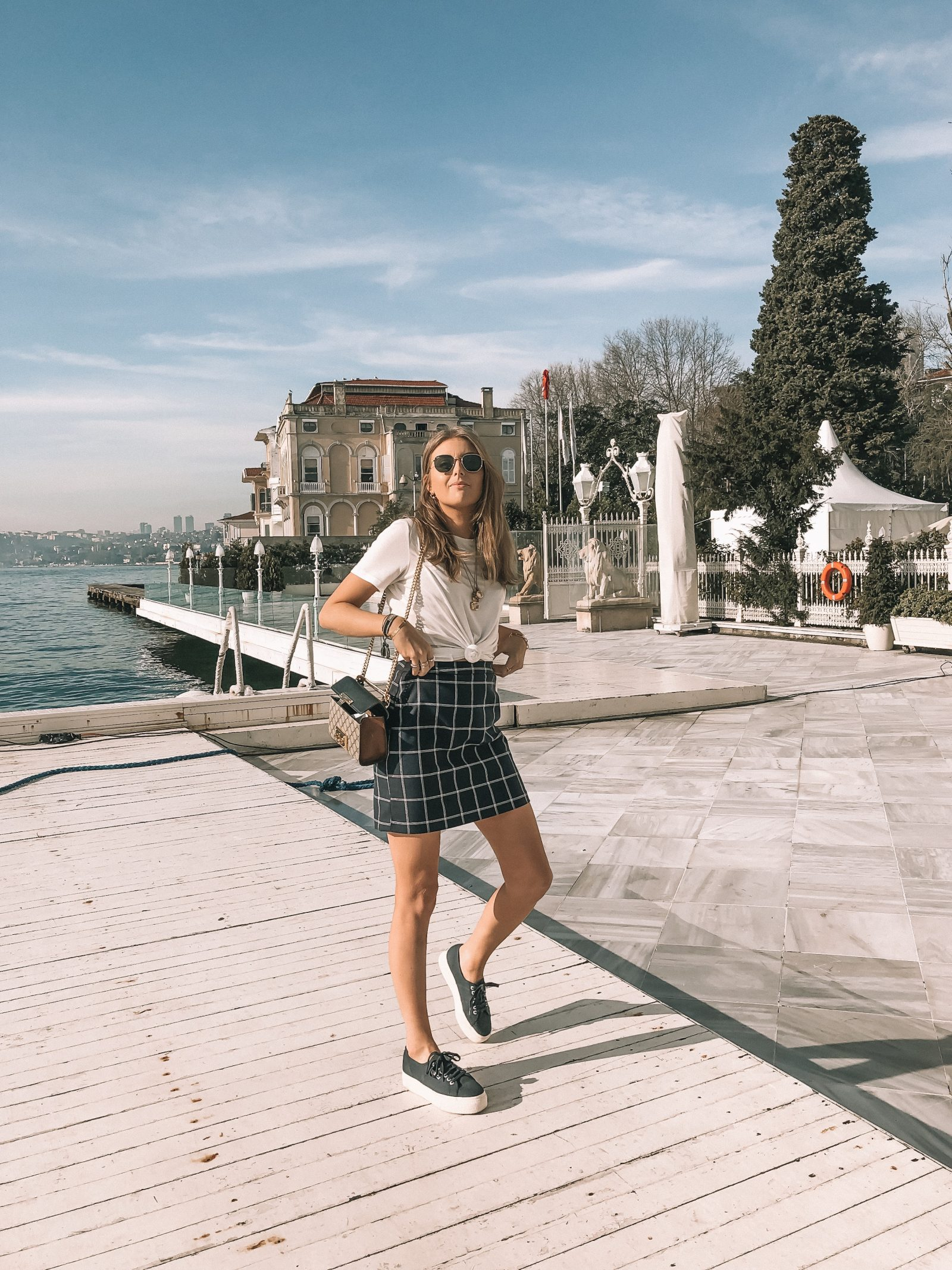Vero Moda Istanbul - Outfit Diaries - Navy Checked Skirt
