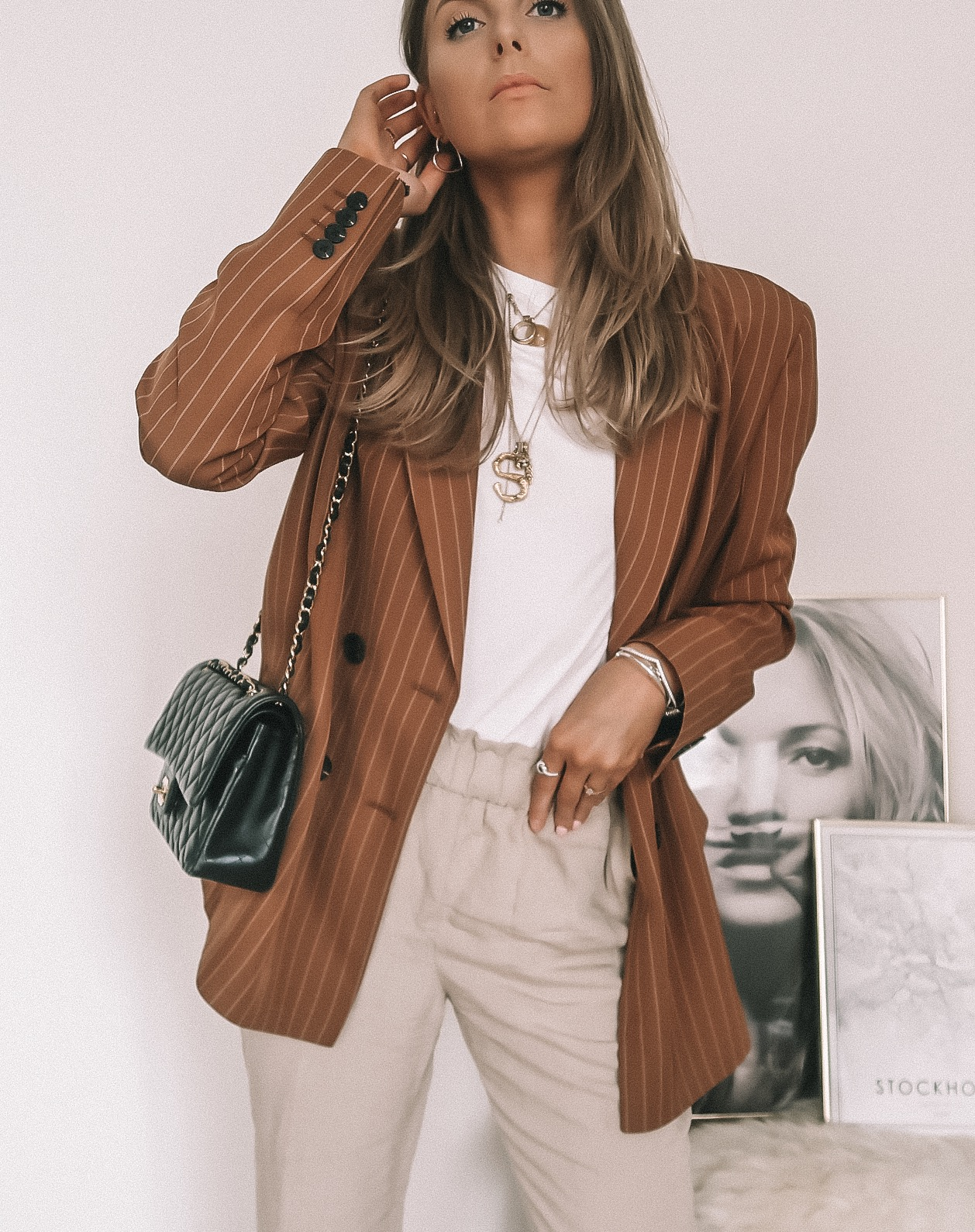 5 Ways To Wear a White T Shirt - Oversized Pinstripe Blazer & Linen Trousers