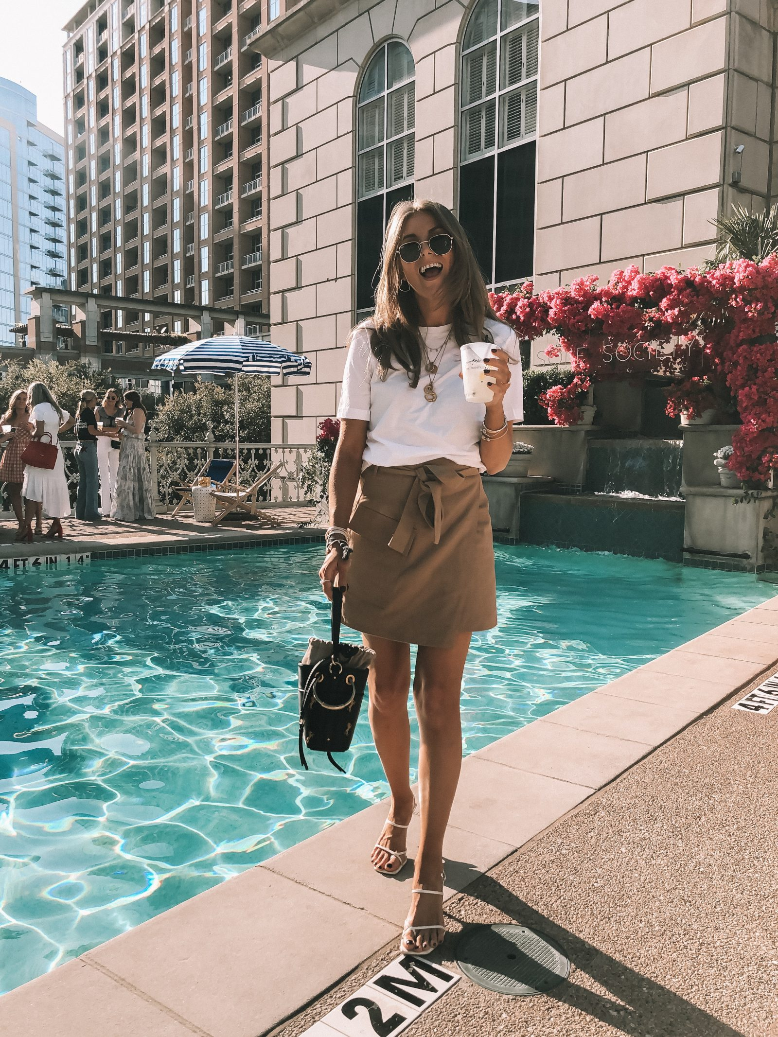 #RSTHECON evening pool party outfit. H&M utility skirt