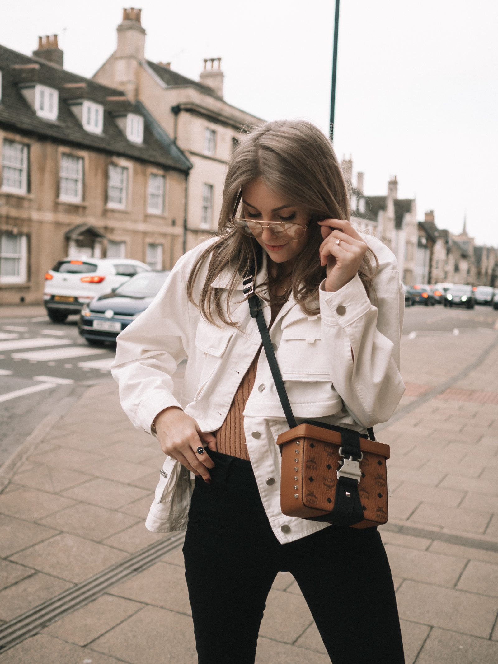 Sinead Crowe Styling the Spring 2019 Utility Trend in this White Cargo Jacket from & Other Stories