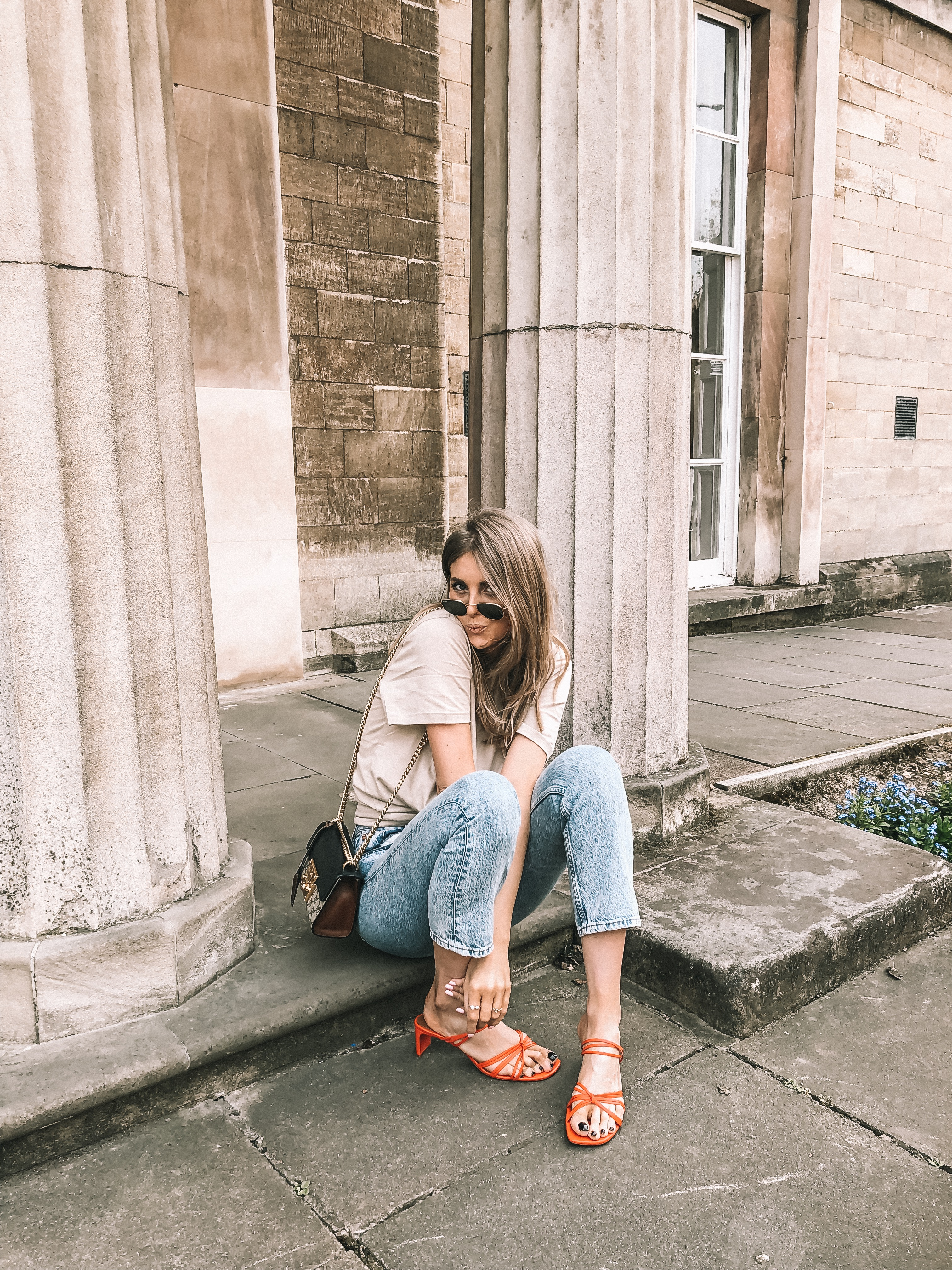 ways to wear the minimal sandals in spring. & Other stories red strappy sandals