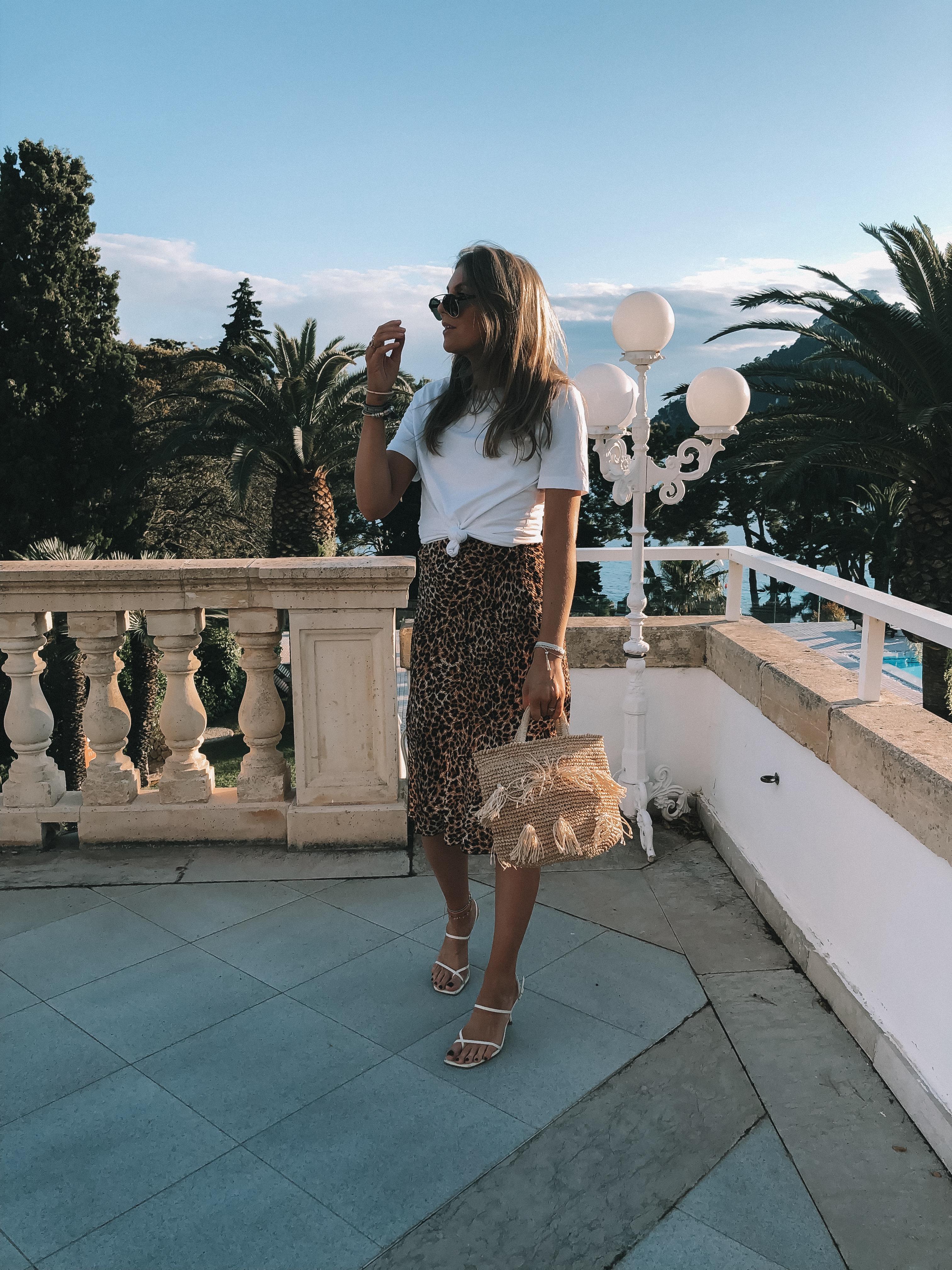 Leopard Print Nanushka Midi Skirt - Holiday Outfit Idea in Mallorca - Royal Hideaway Hotel Formentor