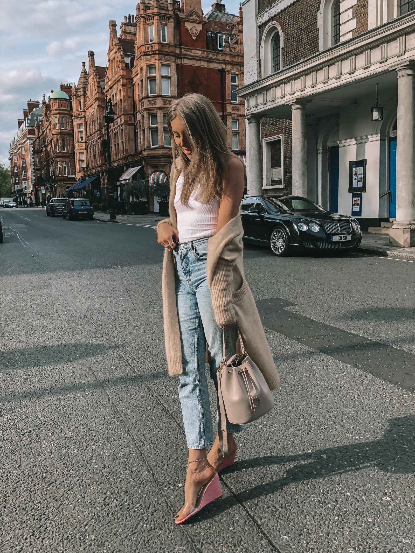 Spring Outfit Idea - Topshop Mom Jeans in Mayfair, London