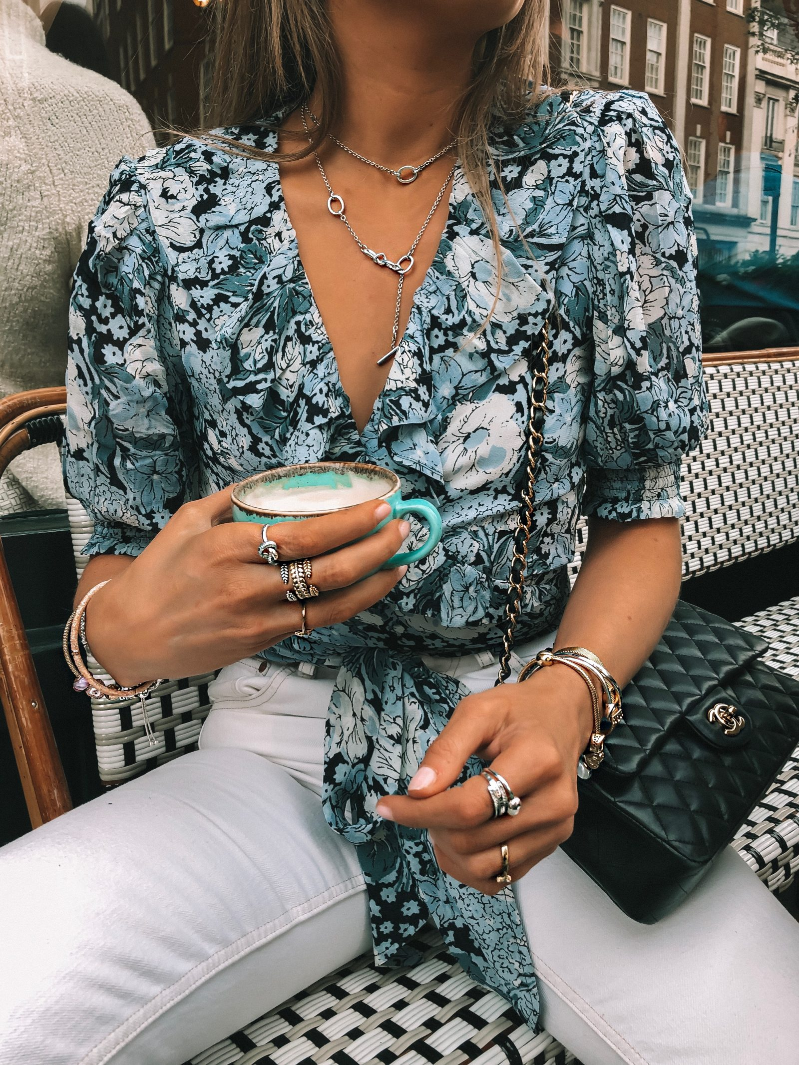 Pandora Ring Stack for Summer in London with beautiful blue floral Ganni Wrap Top - Amazing Pandora Discount Code - SINEAD15 for 15% off!