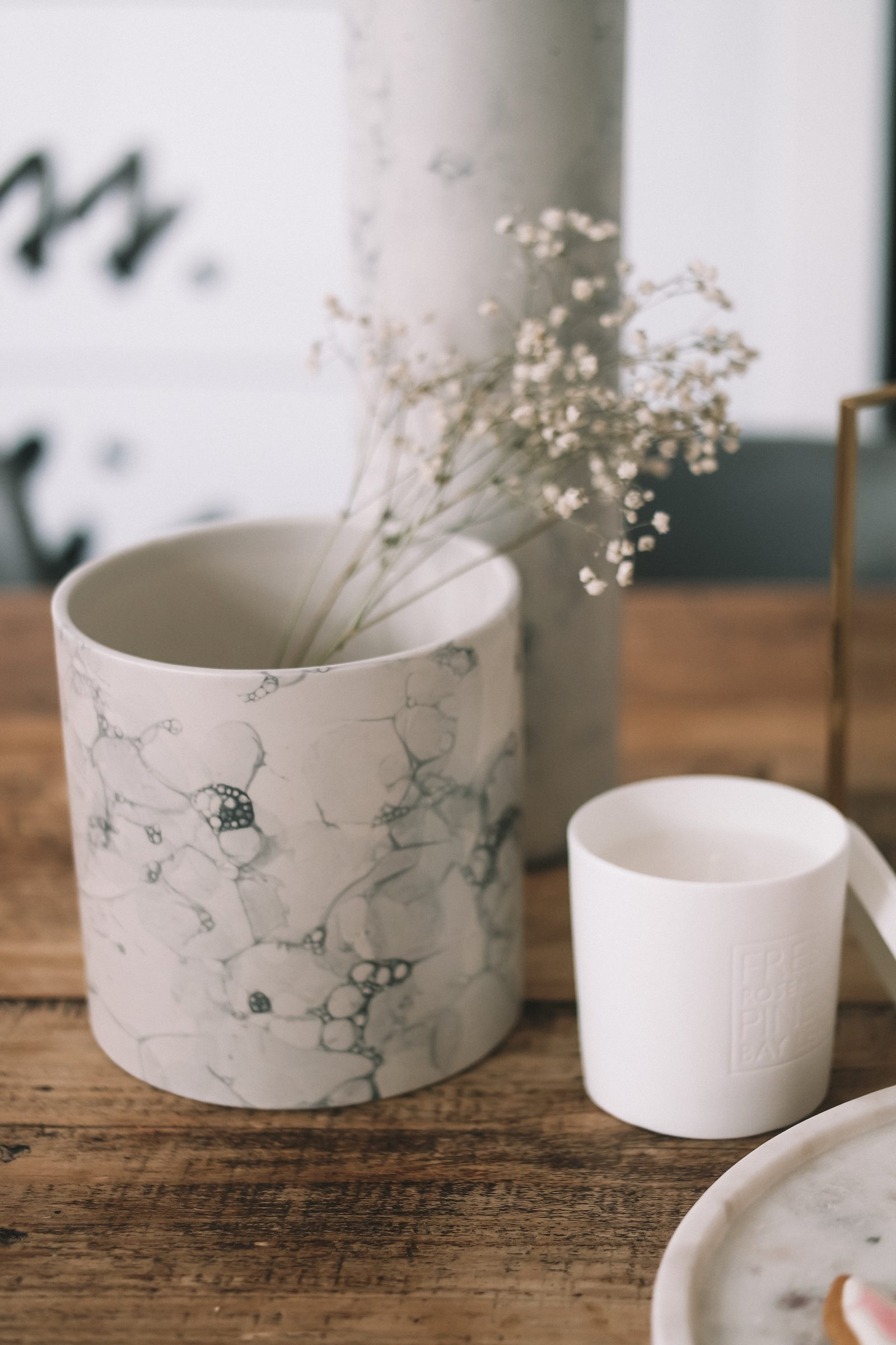 Spring Interiors - Marble Pot from Made.com with Gypsophelia