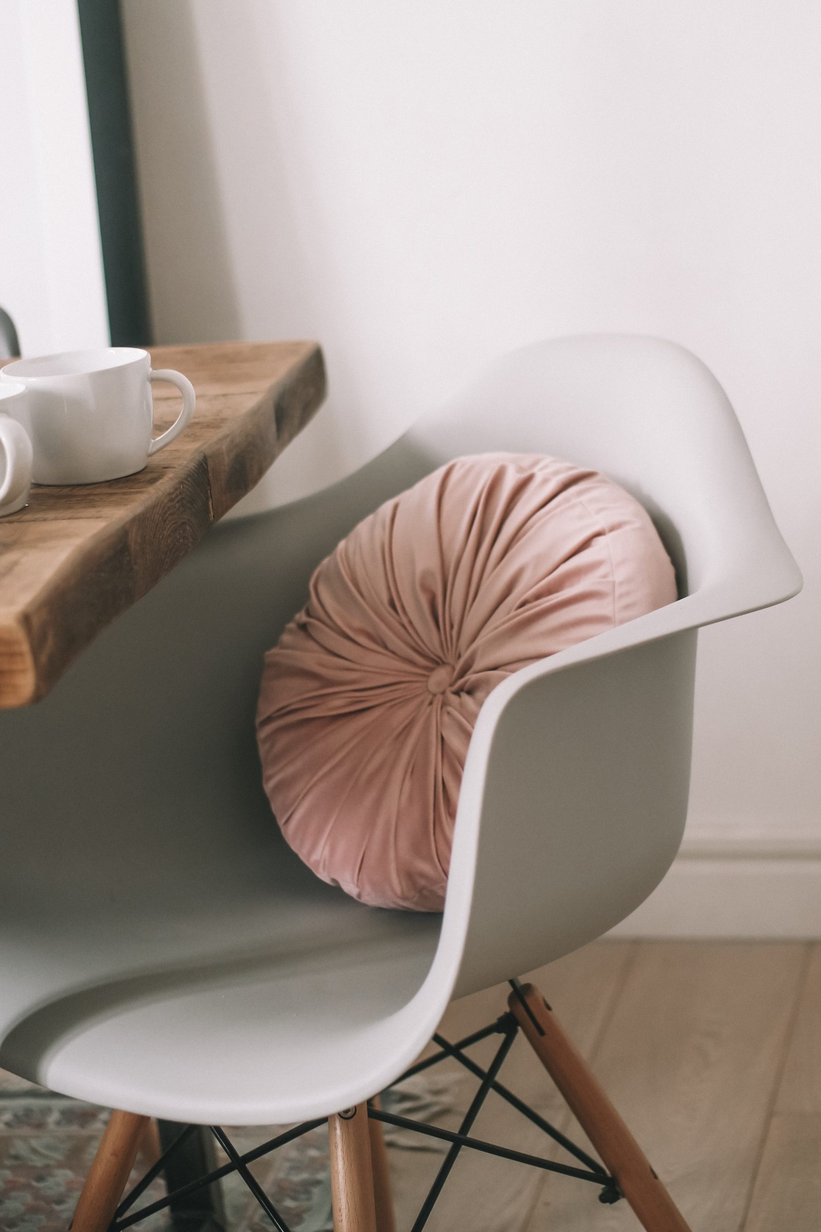Spring Interiors - round Pink Velvet cushion from ASOS