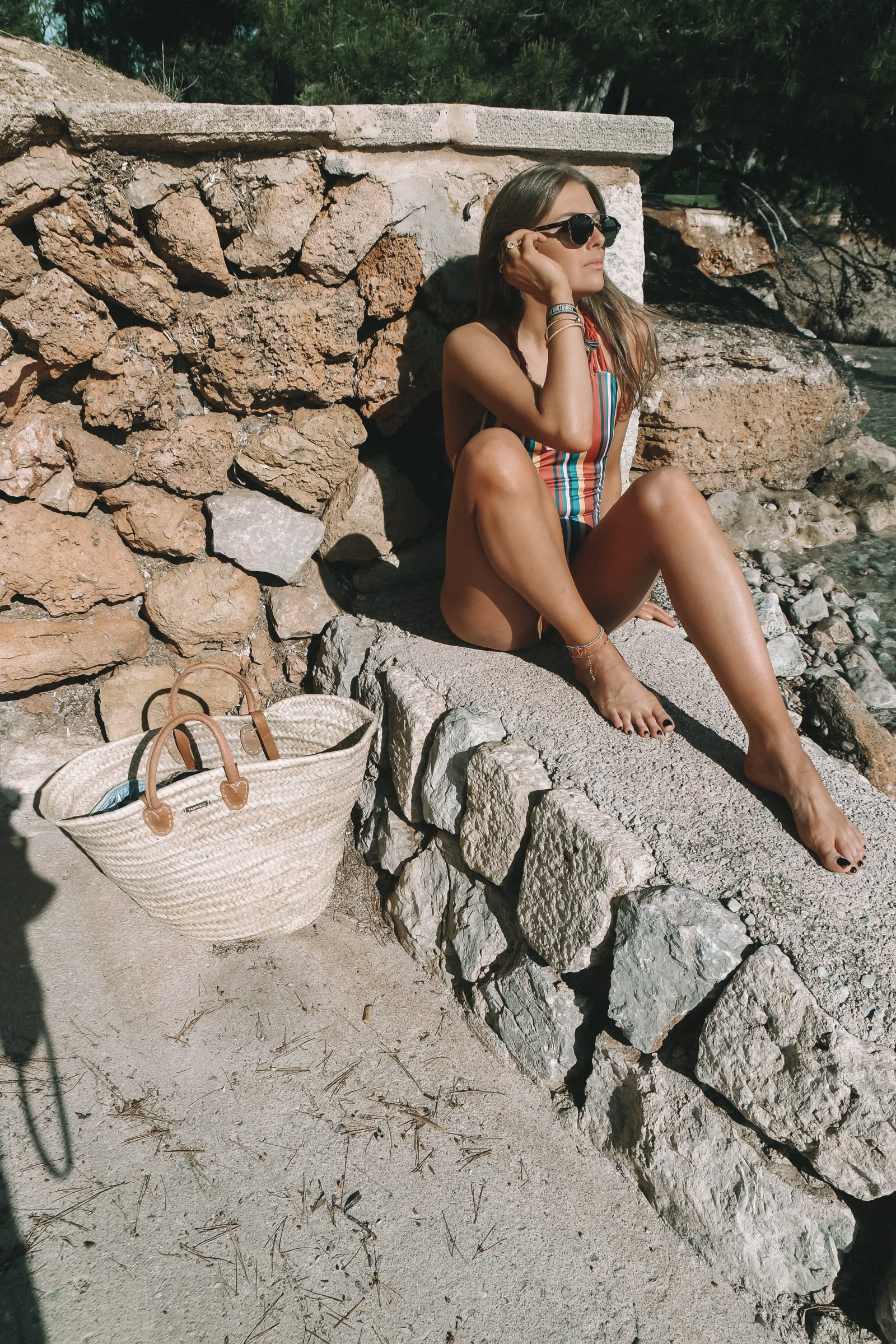 Striped Swimsuit - Swimwear 365 One Piece & Natural Basket Bag in Mallorca - Royal Hideaway Hotel Formentor