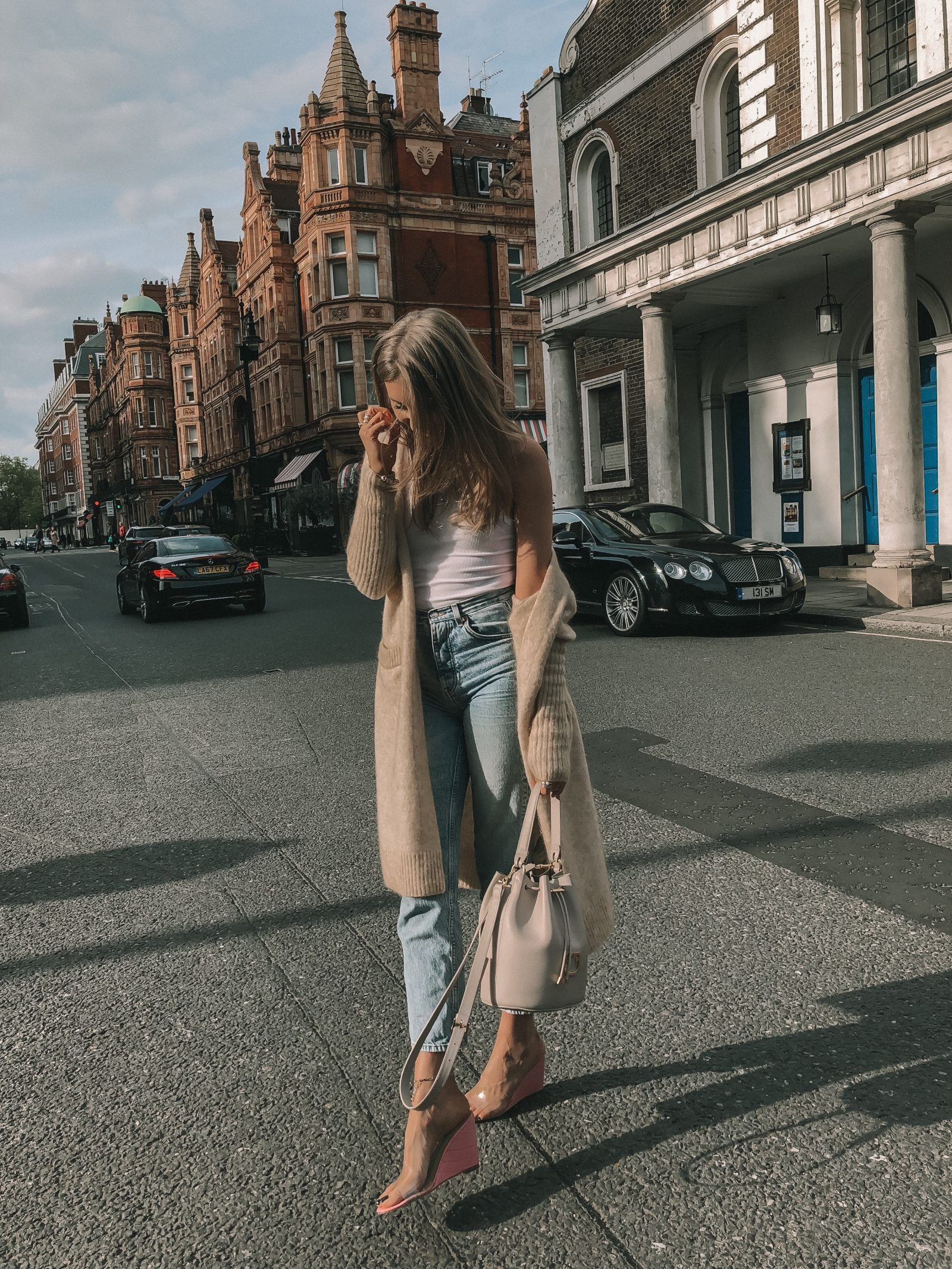 Spring Outfit Idea - VIntage Wash Topshop Mom Jeans in Mayfair, London