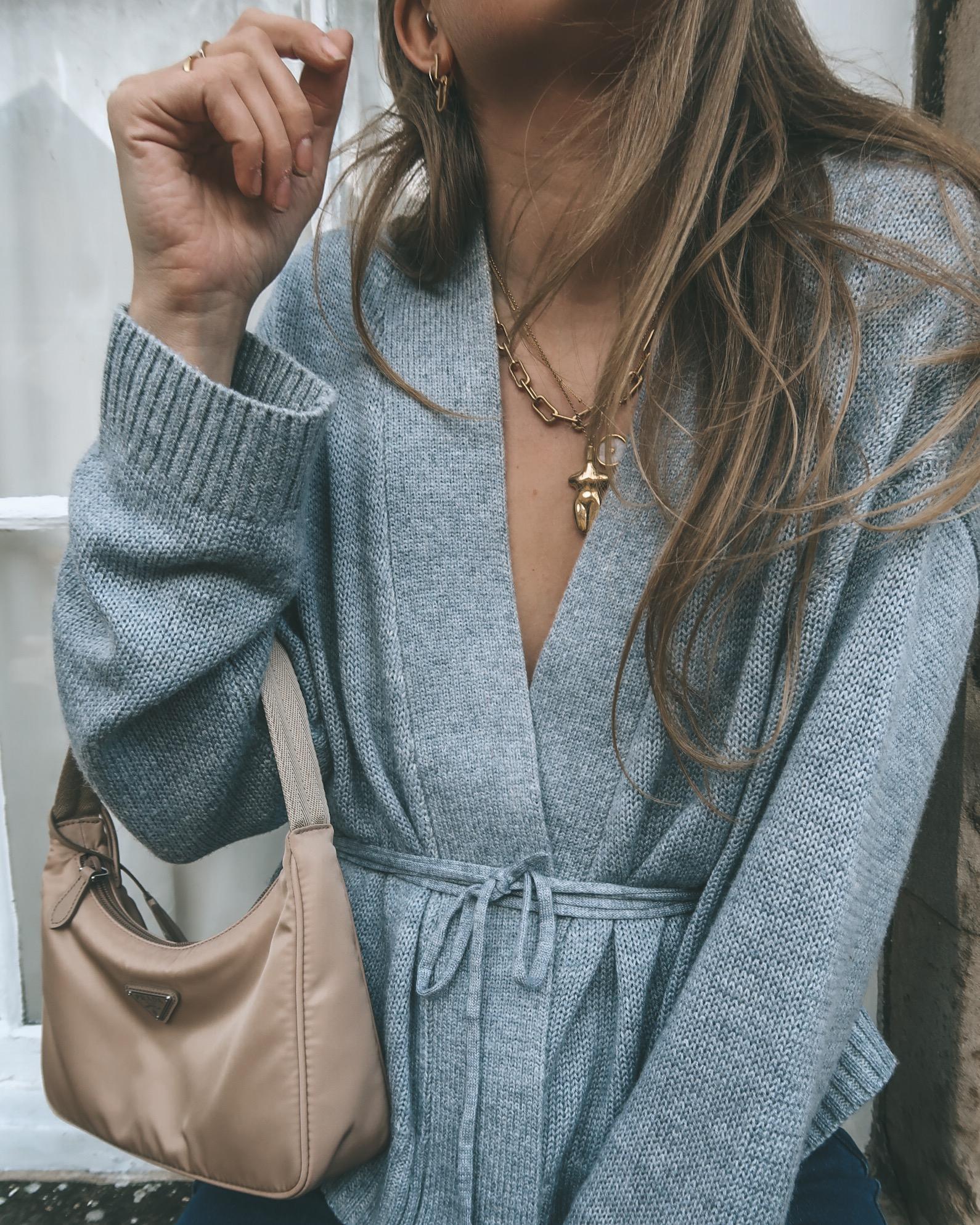 Grey Wrap Cardigan - Street Style