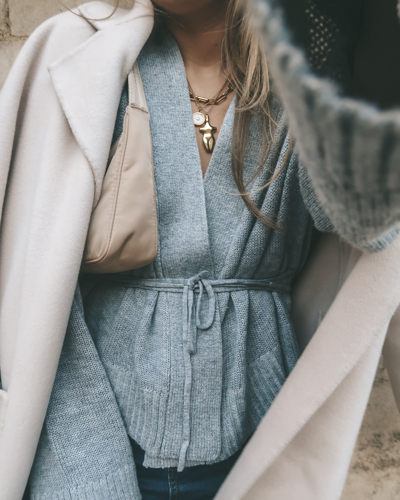 Revolve Grey Wrap Cardigan