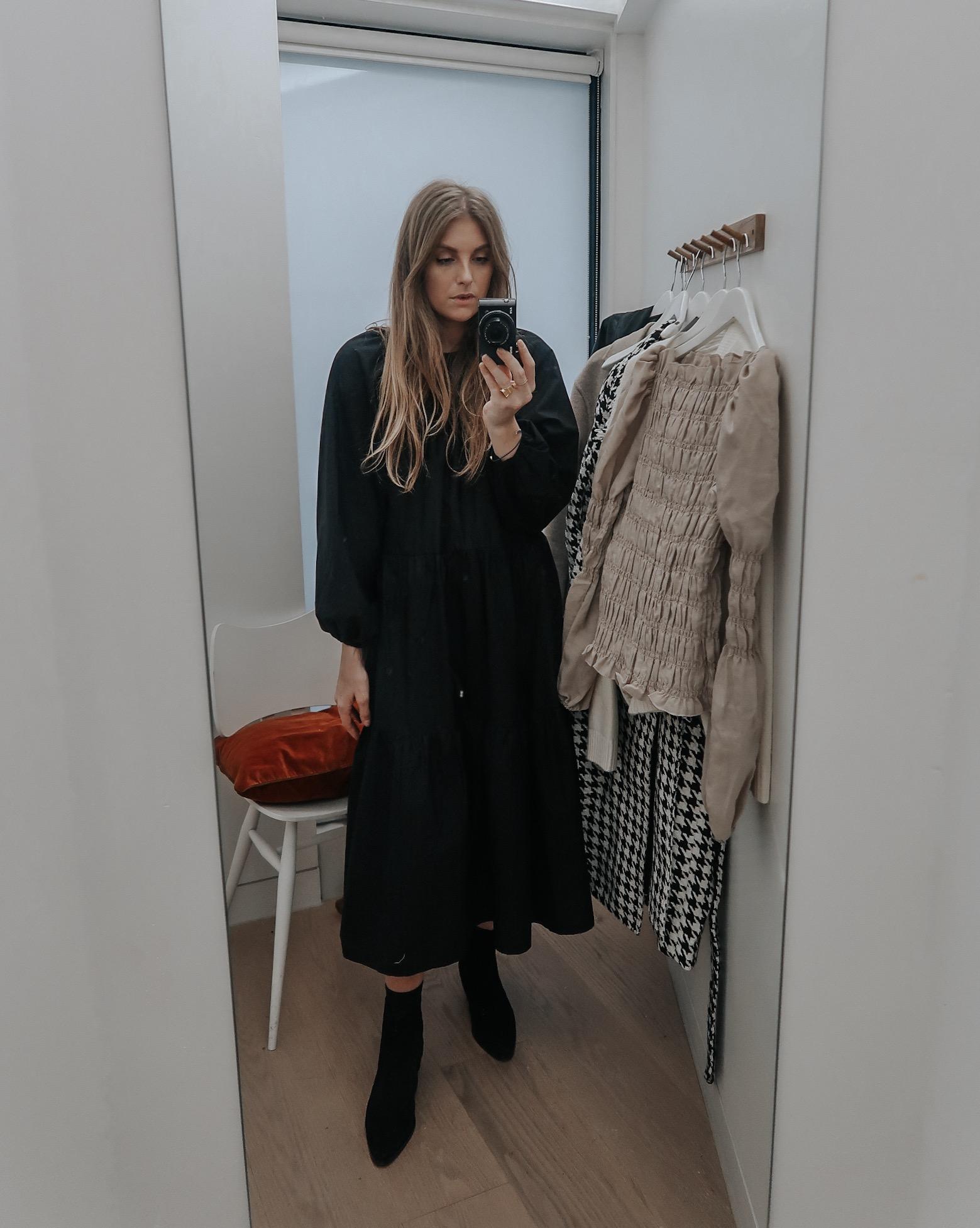 H&M Black Midi Dress Styling Ideas