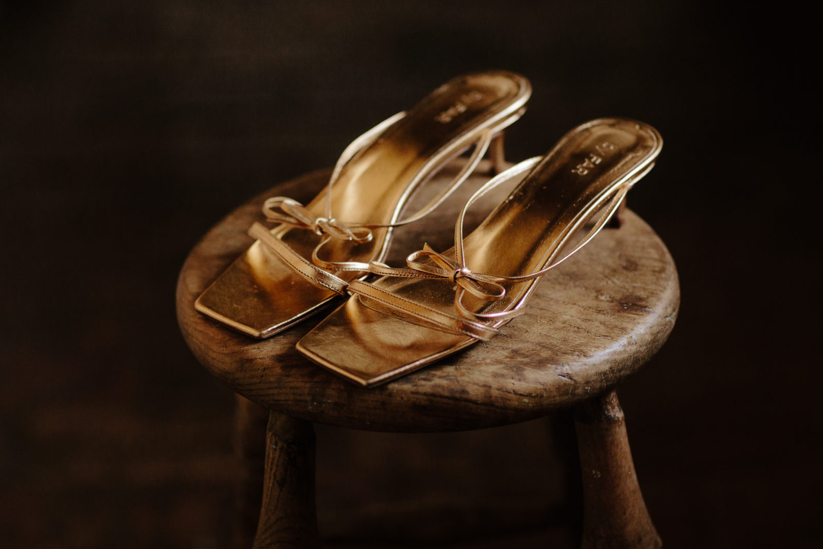 Sinead Crowe Wedding Shoes - By Far Gold Sandals