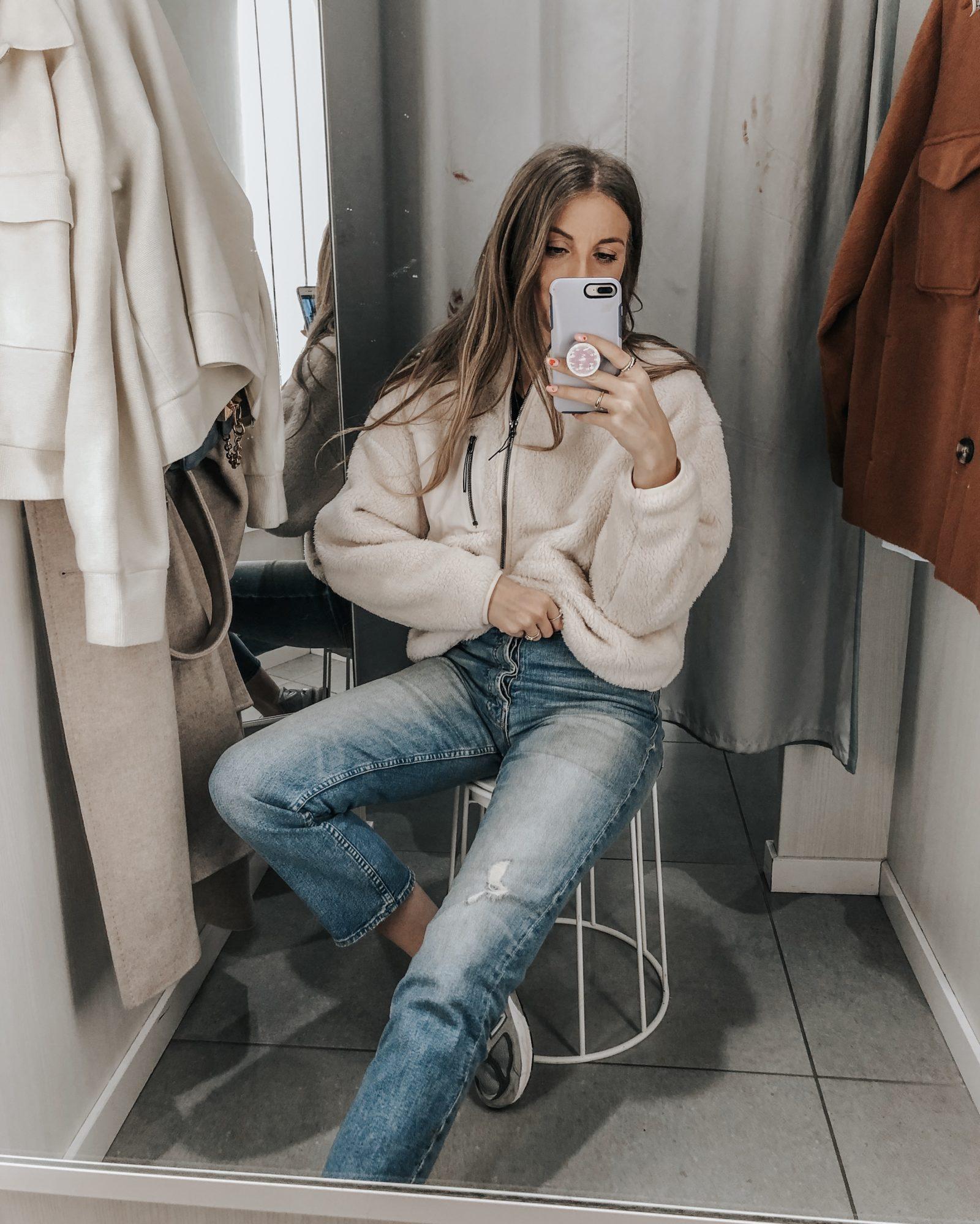 H&M Cream Fleece - Sinead Crowe Changing Room Selfie - Neutral Outfit Idea