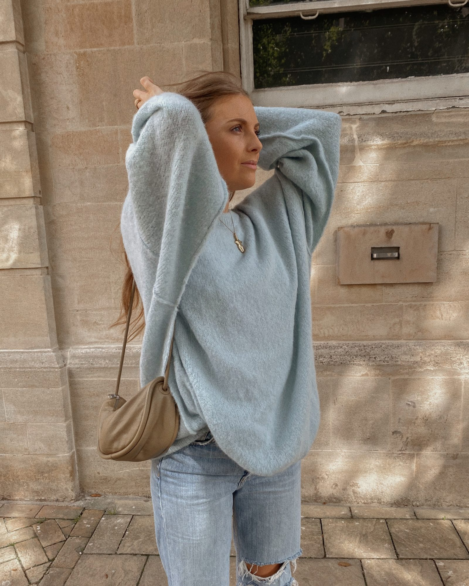 Autumn Outifts - Powder Blue Jumper