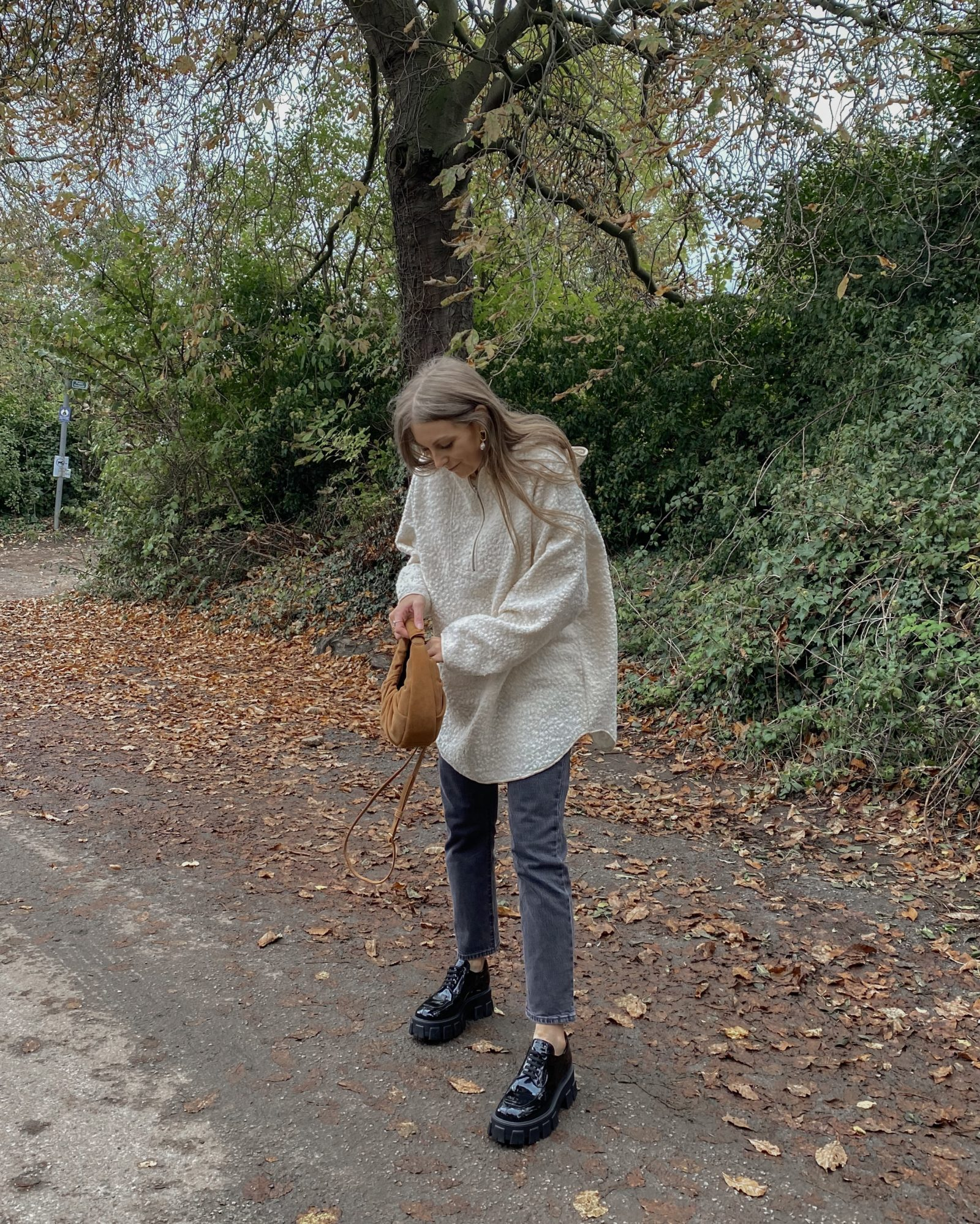 H&M Shearling Hoodie - Neutral Winter Outfit